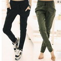 Women's Loose Casual Solid Color Pockets Drawstring Waist Trousers Harem Pants