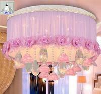 Yeni model kumaş kristal yatak odası romantik pembe tavan lambaları 45*39 cm E14 LED kısılabilir tavan ışıkları N1209