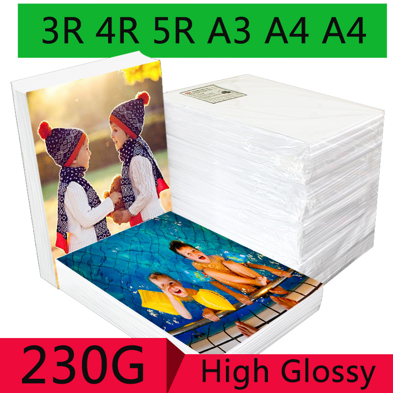 100 Sheets 3R 4R 5R A3 A4 A5 High Glossy Photo Paper For Inkjet Printer Photo Studio Photographer Imaging Printing Paper(China)
