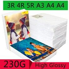 100 листов 3R 4R 5R A3 A4 A5 высокая глянцевая фотобумага для струйного принтера фотостудия фотографа изображений бумага для печати