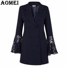 Женский Длинный блейзер, модный костюм с кружевной отделкой, черный с кружевными вставками, с расклешенными рукавами, Офисная Женская одежда, двойные кнопки, блейзеры