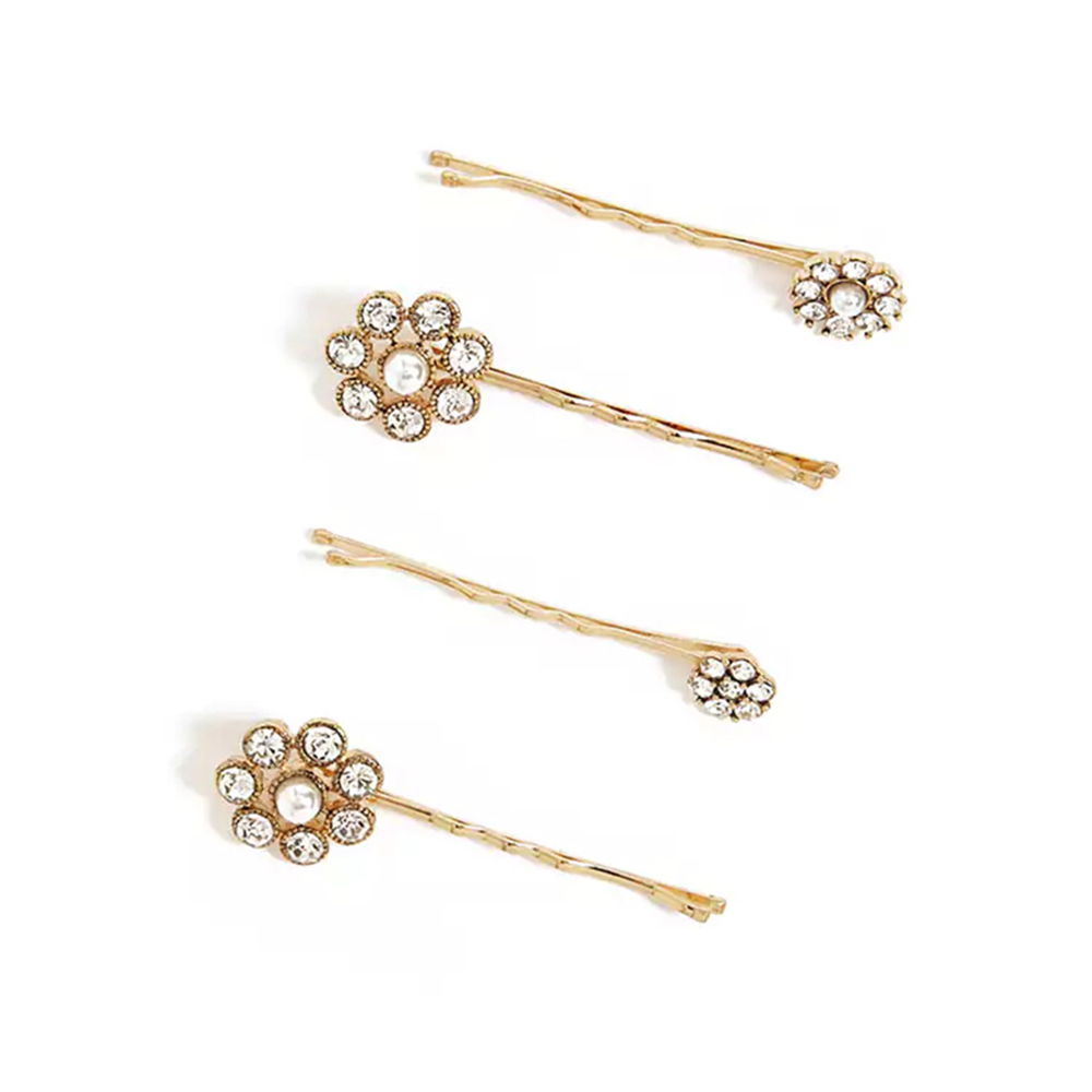 New Hot Women Rhinestone Round Flower Hair Clip Elegant Gold Sliver Color Crystal Hairpin Bobby Pin Barrettes Hair Accessories