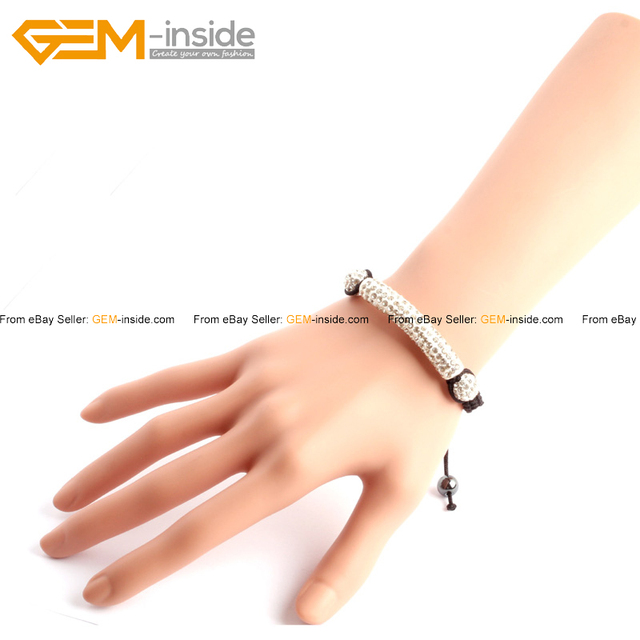 Gem-inside Clay Rhinestones CZ Crystal Pave Tube Beads Bracelet 50mm  Adjustable Length Bracelets 7.5 Inches 8b7f08a8db23
