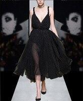 See Orange Classic Black Dot Summer Dress Party Mesh Dress Women Sexy V Neck Dress Vintage Long Beach Dress SO5233