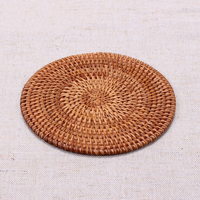 Rattan Cup Coasters Set Pot Pad Table Mat Rattan Tea Mats Tea Accessories  Insulation Pads Hand Made All Natural Home Decoration