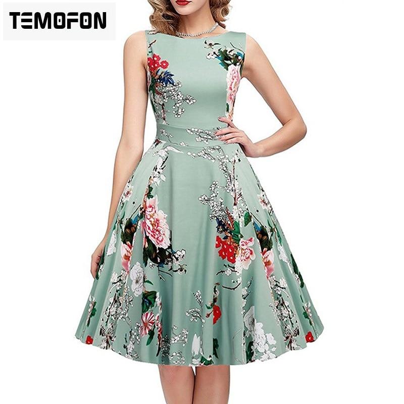 TEMOFON Women Summer Dresses Elegant Printing Sleeveless Dress Casual Party O-neck Female Ball Gown Colorful Dresses ELD07