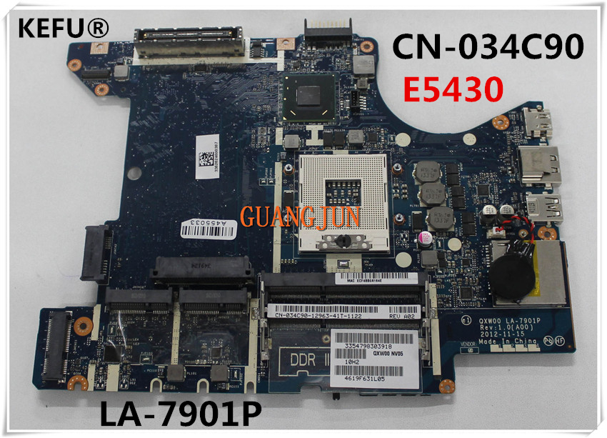 KEFU Free Shipping For Dell E5430 Laptop Motherboard CN 034C90 034C90 34C90 QXW00 LA 7901P 100