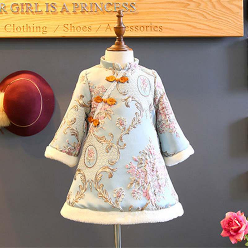 DFXD New Children Girls Cheongsam Chinese Style Long Sleeve New Year Flower Embroidery Dress Thick Winter Girls Warm Dress 2 8Y
