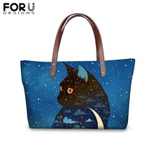FORUDESIGNS Fashion Customize Image Moon Cat Printing Handbags for Women Girl Blue Shoulder Bag Ladies Femme Shopping