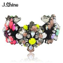 JShine Colorful Resin Handmade Open Cuff Bracelet Bangle Female Brand Design Vintage Bracelets & Bangles Charm Statement Jewelry(China)