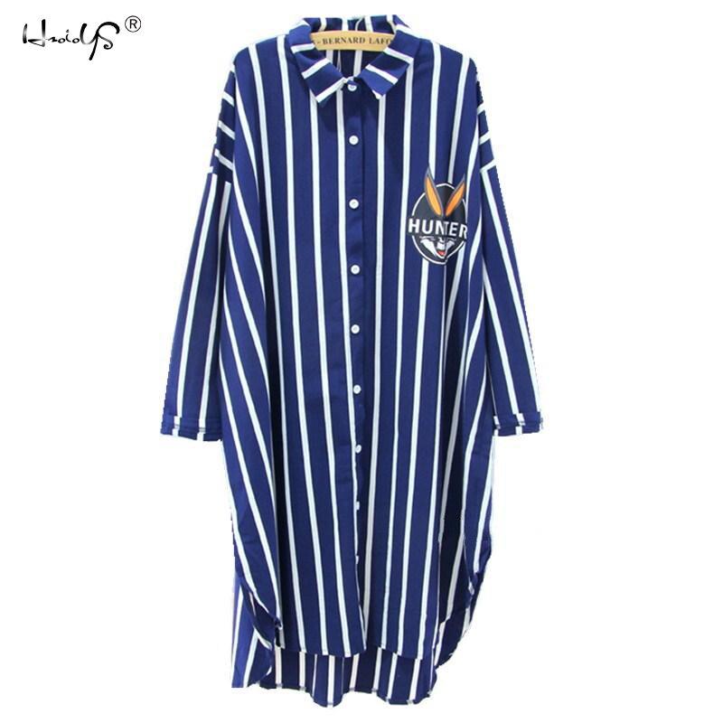 2018 New BUGS Printed Striped Cartoon Nightgown Sleepwear Womens Autumn Pyjamas Big Size Nightdress Nightwear Summer Homewear