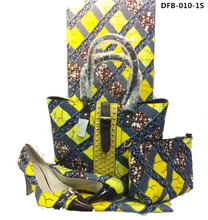 Latest african fashionable cotton wax fabric matching handbag matching high heel dashiki style for woman DFB-010-1S