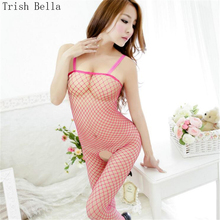 2018 transparent Large mesh lattice Shoulder straps Conjoined Net clothing body sexy costumes bodystocking catsuit open crotch