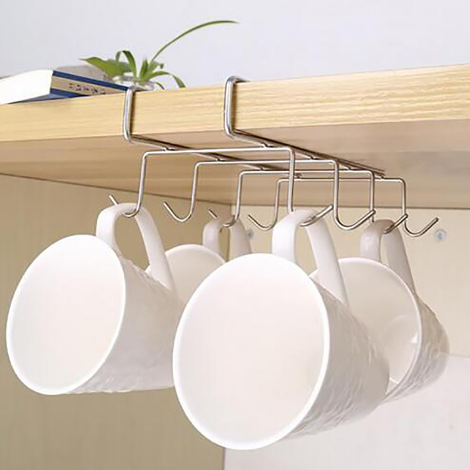 Stainless Steel Hanger Hooks Cupboard Coffee Cup Holder Drainer Hanger Closet Under Shelf 8 Hook for Storage Cup Glass and Mug