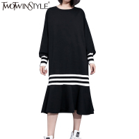 TWOTWINSTYLE 2017 Striped Autumn Midi Long Dress Female Black Mermaid Dresses For Women Big Sizes Ruffles