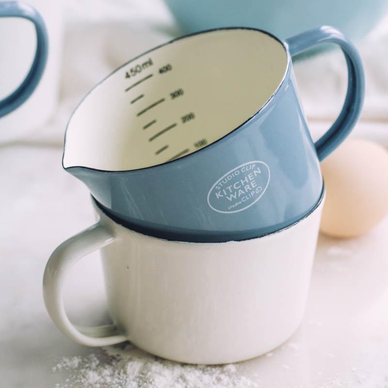 Эмалированный мерный стакан со шкалой молока может кофе чашка воды
