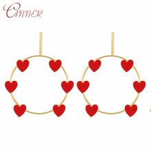 CANNER Fashion Gold Geometric Big Round Earrings for Women Heart Hollow Drop Jewelry Wedding Party Oorbellen