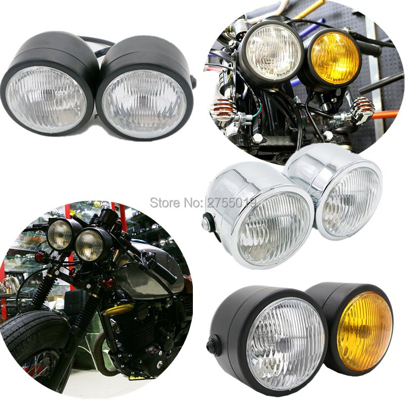 Chrome Twin Headlight Motorcycle Double Dual Lamp for