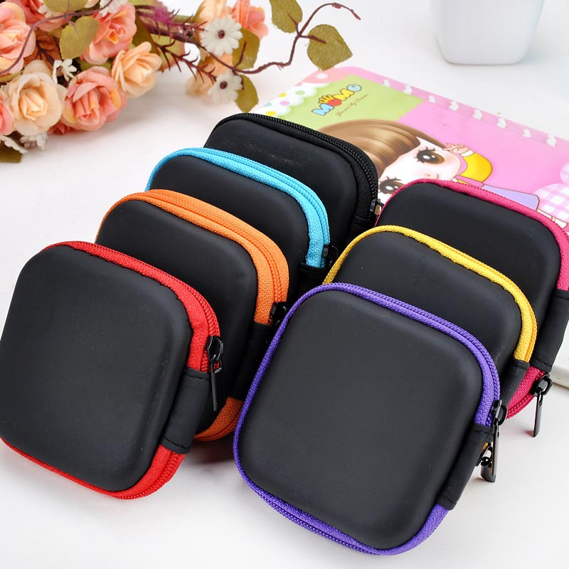 Candy Colored Silicone Coin Purse Square Bag Waterproof Headset Holder Wallet Gift Men Women Coin Storage Organozer Wallets kz headset storage box suitable for original headphones as gift to the customer