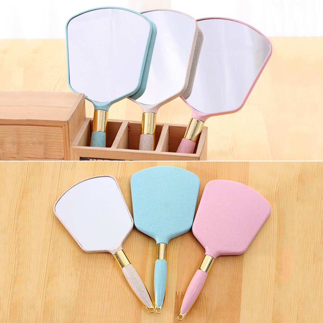 Lovely Vintage Handle Mirror 1PC Cute Plastic Vanity Makeup Mirror Rectangle Hand Hold Cosmetic Mirror Clarity Suspensible