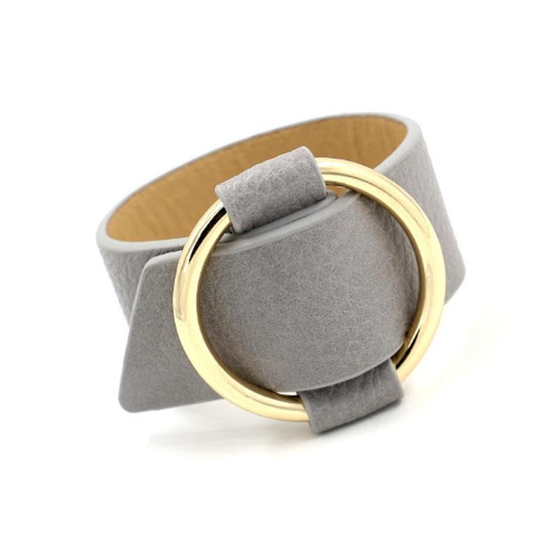 купить!  Регулируемая металлическая пряжка манжеты браслет красивый искусственная кожа широкий браслет