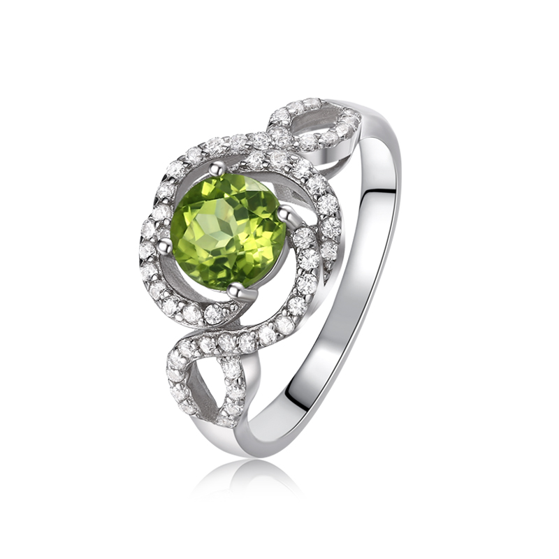 ZT Classic Lover 925 Sterling Silver Two White Or Rose Color Ring 0.8 Carats Peridot Rings Jewelry For Women Weding Ring