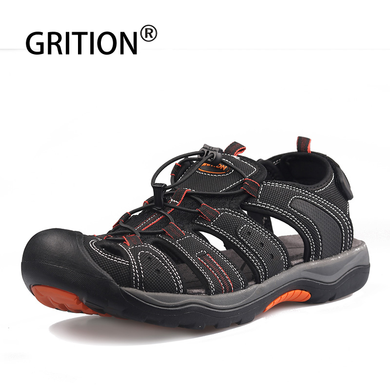 GRITION Mens Outdoor Sandals Rubber Sole Anti skid Hiking Sandals Quick drying Toecap Beach Shoes Outdoor