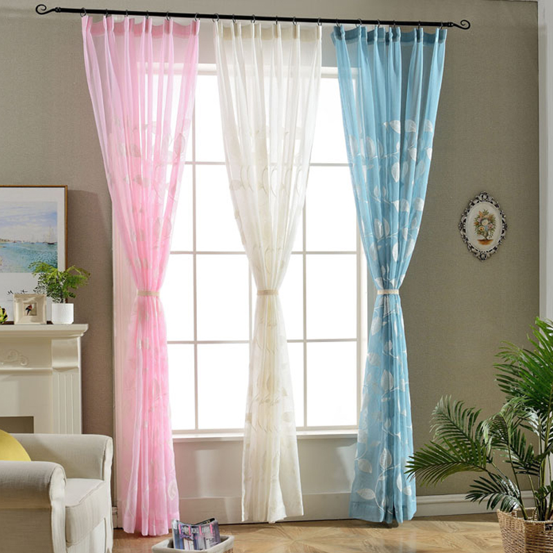 Simple Style Leaf Pattern Decorative White Sheer Vertical