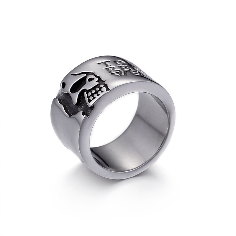 Domineering Pirates Mens Mens Ring Titanium Steel Single Personality Influx Night Club Wide Ring Fashion Jewelry City Boys