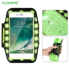 FLOVEME 5.5 Inch Universal LED Light Armband Case For iPhone 6 6s 7 Plus Luminious Running Arm Band Sport Brassard Phone Pouch