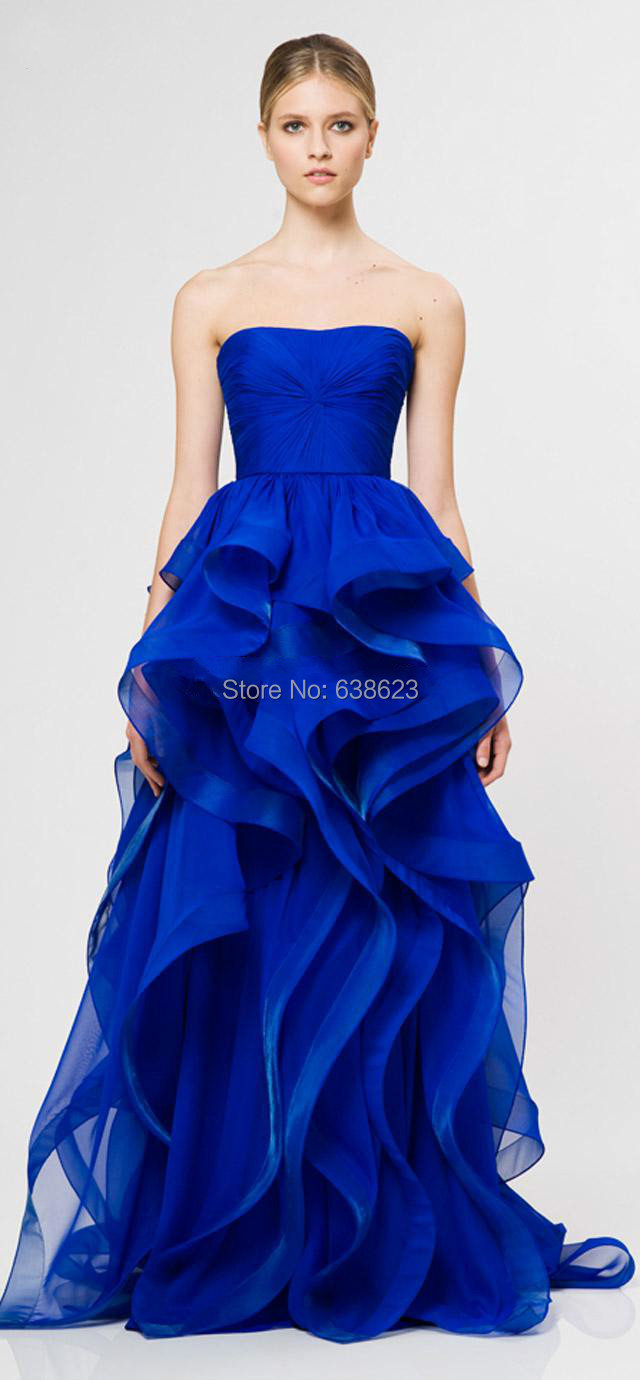 ... Perfect blue organza handmade ruffles floor length modern evening  dresses strapless sleeveless ball gown graceful decent 807565bdadbc