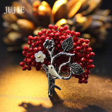 JUJIE Red Rhinestone Bird Brooches For Women 2017 Brooch Female Silver Plated Aolly Plant Pins Brooches Fashion Brand Jewelry