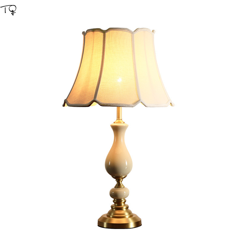 American Rural Copper Table Lamp E27 Led Ceramic Simple Luxury Living Room Bedroom Bedside Lamparas De Mesa Para El Dormitorio