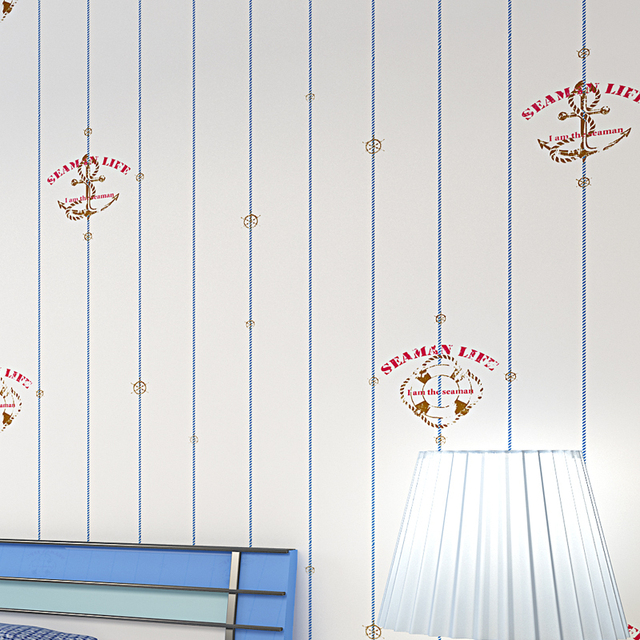 Mediterranean Cartoon Wood Striped Kids Room Wallpaper For: Boys Pirate Wall Paper For Kids Walls Blue Vertical