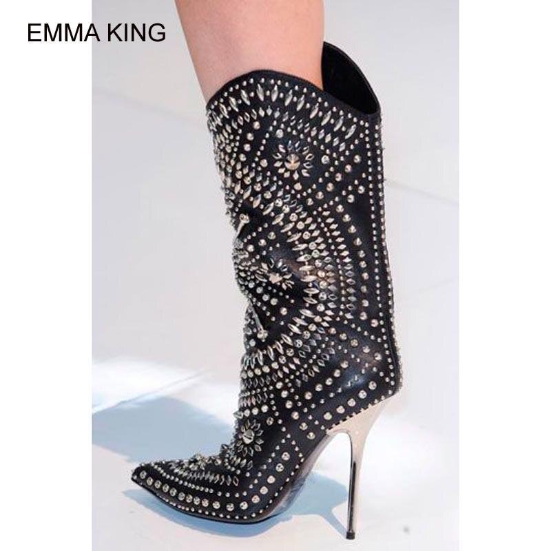 Bottes Chaussures Exquis Sur Minces De Goujons mollet Mujer Parti Glissent Talons Métal Gratuite Rivets Femmes Black Livraison white Pointu Bout Hauts Mi En Botas XZx1w4txnq