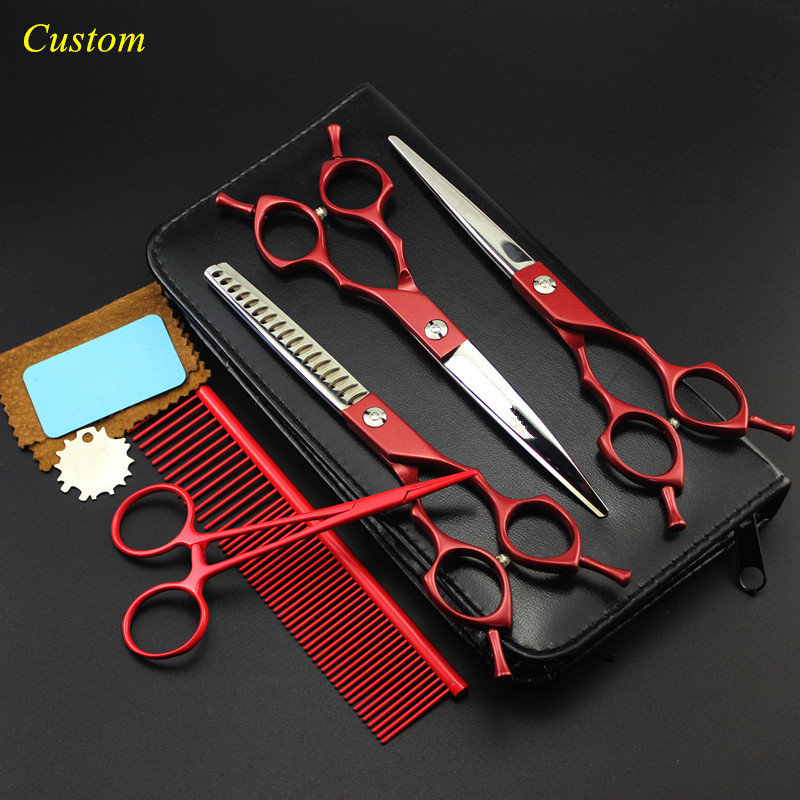 Custom 5 kit japan steel 6.5 inch red Pet dog grooming hair scissors cutting shears pet thinning barber hairdressing scissors 8 inch pet thinning scissors shears dog pet grooming scissors dog cat hair cutting tools groomer animal clippers
