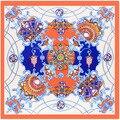 Palace Design and Color Print Square Silk Feeling Scarves Foulard Elegant Neckerchief Light Head Scarf New Fashion 90FJ63