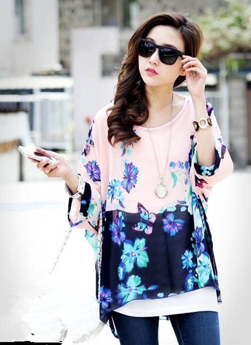 Shirt design girl 2016 - Vogue Butterfly Print Women Sheer Blouses Lady Batwing Sleeved Chiffon Shirts 2016 Fashion Design Girls Plus