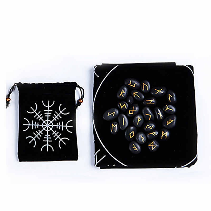25pcs/set Runes Stones With BlackTablecloth/Bag Engraved Riverstones Carved Black Lettering Feng Shui Board Game Accessory