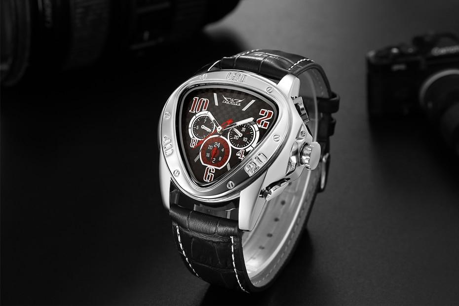 triângulo geométrico relógio masculino pulseira de couro