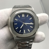 Mens luxury PP watch blue dial automatic movement Glide sooth second hand sapphire glass luminous watches AAA+