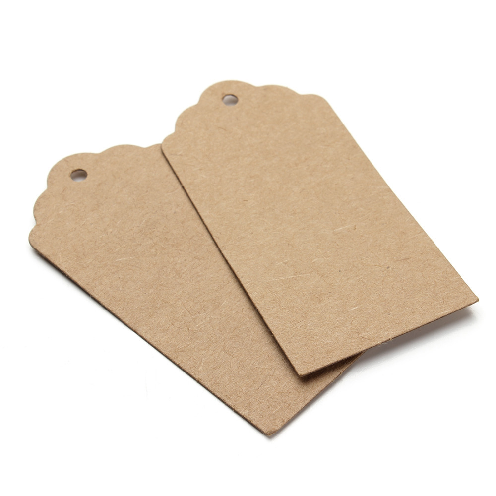 100pcs/lot 2015 Newest Brown Kraft Paper Tags Lace Scallop Head Label Luggage Wedding Note DIY Blank Price Hang tag Gifts F2754