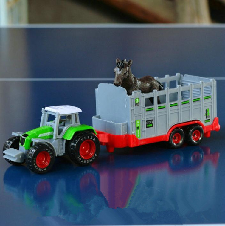 1 65 Alloy Toy Cars Model American Style Transporter Truck: 1:87 Alloy Tractor Model,high Simulation Farm Truck,metal