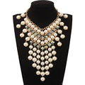 Gorgeous Fashion Crystal Imitation Pearl Necklace Tassel Multi Layer Necklaces Women Accessories Simulated Pearls Jewelry