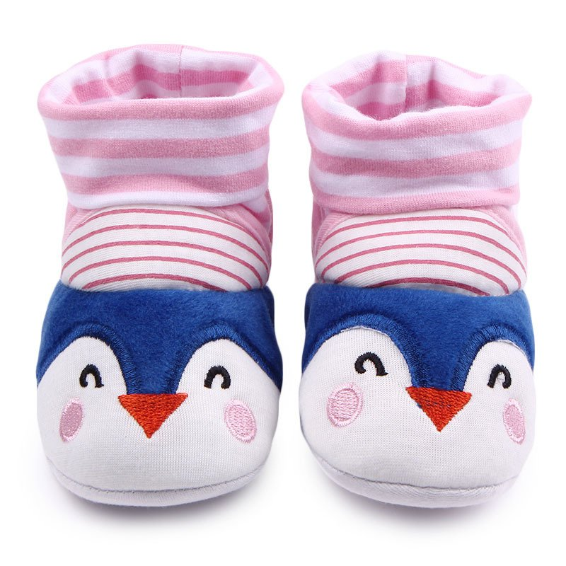 Cute Lovely Baby Shoes Girls Boys Winter Warm Cartoon Anti-Slip Socks Slipper Crib Shoes First Walkers 0-12M