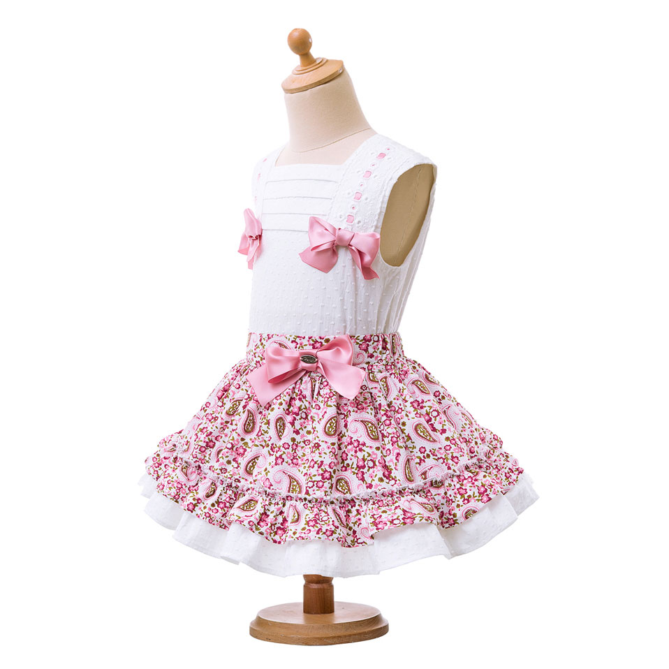 Pettigirl Summer Girl Clothing Sets White Vest With Three Pink Bows Flower Skirts With Lace Hem And Hairbands G-DMCS104-B248
