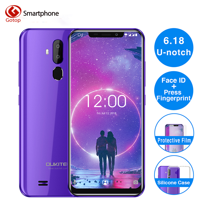 Oukitel C12 Face ID 6.18 pouces 19:9 u-cran affichage Android 8.1 2GB RAM 16GB ROM MT580 3300mAh batterie 8MP + 2MP caméra Smartphone