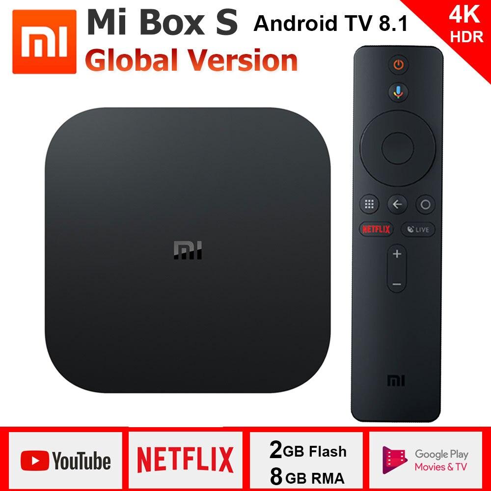 Xiao mi caja de S 4 K TV Box Cortex-A53 Quad Core de 64 bits Mali-450 1000Mbp Android 8,1 2 GB + 8 GB HD mi 2,0 de 2,4g/5,8G WiFi BT4.2 último