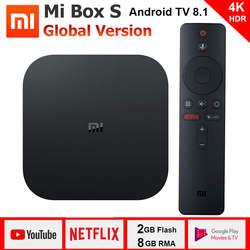 Xiaomi mi Box S 4 к ТВ коробка Cortex-A53 4 ядра 64 бит Mali-450 1000Mbp Android 8,1 2 ГБ + 8 Гб HD mi 2,0 2,4 г/5,8 Г Wi-Fi BT4.2 последние