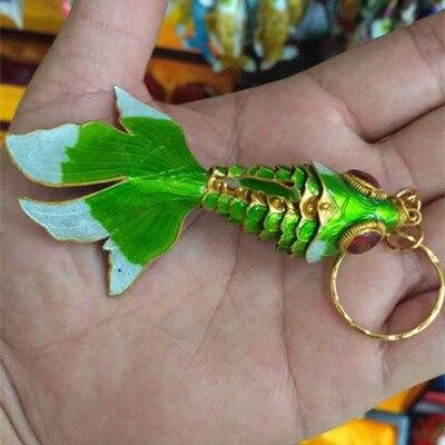 Эмаль 7,5 качели животное Золотая Рыбка брелок рыба брелки китайская перегородчатая эмаль брелки для ключей автомобиля сумка аксессуары этнический подарок - Цвет: Зеленый